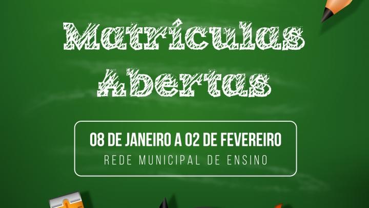 Matrículas na Rede Municipal de Ensino começam nesta segunda, (08/01)